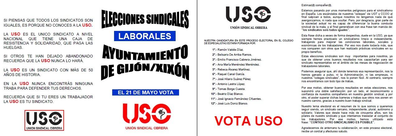 Diptico USO Elecciones Sindicales Ayuntamiento Gijón